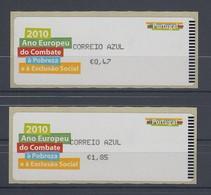 Portugal 2010 ATM Armut Und Ausgrenzung Mi.-Nr. 71.2 AZUL Satz 2 Werte ** - Frankeervignetten (ATM/Frama)
