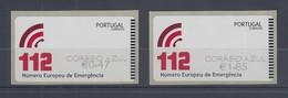 Portugal 2011 ATM Notrufnummer 112  Mi.-Nr. 76.3 Z2 AZUL Satz 2 Werte ** - Frankeervignetten (ATM/Frama)