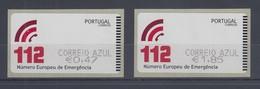 Portugal 2011 ATM Notrufnummer 112  Mi.-Nr. 76.1 Z2 AZUL Satz 2 Werte ** - Frankeervignetten (ATM/Frama)