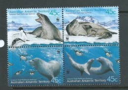 Australian Antarctic Territory 2001 Leopard Seals WWF Set / Block Of 4  MNH - Territoire Antarctique Australien (AAT)