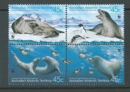 Australian Antarctic Territory 2001 Leopard Seals WWF Set / Block Of 4  MNH - Unused Stamps