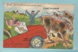 CPA Carte à Systeme 63 Pontaumur - Quel Emcombrement Pour Voir Pontaumur 4 Cv Contre 3 Vache - A Systèmes