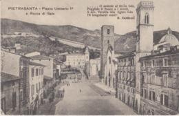 CARTOLINA -PIETRASANTA - PIAZZA UMBERTO 1° E ROCCA DI SALA  - VIAGGIATA 1918 - Lucca