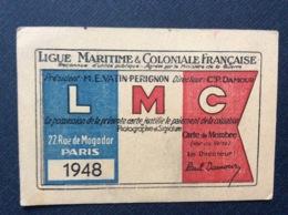 LIGUE MARITIME & COLONIALE  FRANÇAISE  LMC  Carte Membre Sociétaire De La LMC - Boats