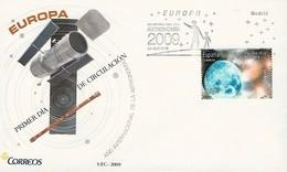 """ESPAÑA /SPAIN / SPANIEN  - EUROPA 2009  - TEMA  """"ASTRONOMIA"""" - FDC De La SERIE De 1 V.  - DENTADA  - Matasellos MADRID - Europa-CEPT"""