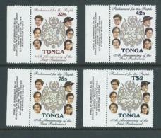 Tonga 1987 Parliament Set Of 4 MNH Marginal Single With Imprint - Tonga (1970-...)