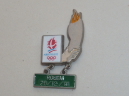Pin's ALBERTVILLE 92, PARCOURS DE LA FLAMME, ROUEN 28-12-91 - Juegos Olímpicos