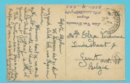 "Kaart (Crefeld) Met Stempel PMB 1 Op 1/5/24 Stempel "" 4° Ch. à Pied, III Bn 9° Cie"" - Postmark Collection"