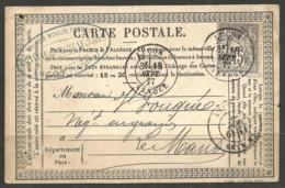FRANCE. 1877. POSTCARD. LUCON VENDEE POSTMARK. LE MANS ARRIVAL. COMERCIAL CORRESPONDENCE MAISON MOULIN FRERES. - France