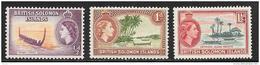 British Solomon Islands, Scott # 89-91 MNH Canoes, 1956 - British Solomon Islands (...-1978)