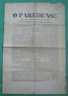 Paredes - Jornal O Paredense Nº 653, 9 De Agosto De 1896 - Imprensa. Porto. - Andere