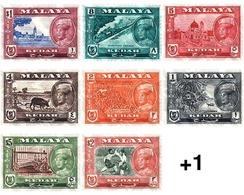 Ref. 55421 * MNH * - MALAYSIA. KEDAH. 1959. BASIC SET . SERIE BASICA - Kedah