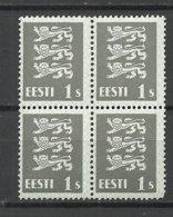 ESTLAND Estonia 1940 Michel 164 W In 4-Block MNH - Estland
