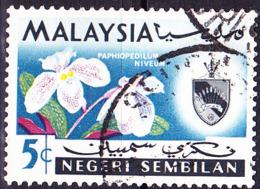 Malaiische Staaten V - Negri Sembilan - Orchidee (Paphiopedilum Niveum) (MiNr: 81) 1965 - Gest Used Obl - Negri Sembilan