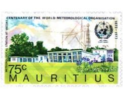 Ref. 147897 * MNH * - MAURITIUS. 1973. CENTENARIO DE LA ORGANIZACION METEOROLOGICA INTERNACIONAL - Mauricio (1968-...)