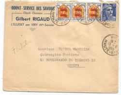 GANDON 15FR BLEU + BLASON 1FRX3 LETTRE VIRY HAUTE SAVOIE 15.6.1953 POUR GENEVE TARIF FRONTALIER - 1945-54 Marianne Of Gandon
