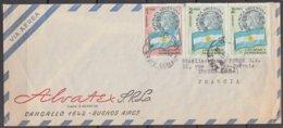 """ARGENTINE  Enveloppe Timbrée De BUENOS AIRES  1961 """" LIBERTAD Y DEMOCRACIA  2p  La PAIRE + 1p """"  Pour TROYES Aube - Argentinien"""