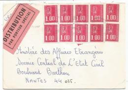 BEQUET 1FR X10 LETTRE DISTRIBUTION PAR PORTEUR SPECIAL 1.2.1977 - 1971-76 Marianne De Béquet