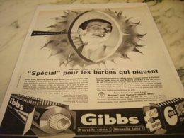 ANCIENNE PUBLICITE CREME A BARBE QUI PIQUENT  GIBBS  1961 - Sin Clasificación