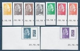 5248a à 5254a 5257a 5258a Marianne L'Engagée Non Dentelé - 9 Valeurs Des Feuillets Coin Daté Europe Monde (2018) Neuf** - Neufs