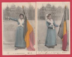 5 Cartes Postales Patriotiques / 5 Patriottische Postkaarten - La Brabançonne / De Brabanconne  -1904 ( Voir Verso ) - Patriottisch