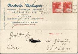 MODESTO MODUGNO OLIO D'OLIVA VINI BOLOGNA VIAGGIATA 1947   (222) - Pubblicitari