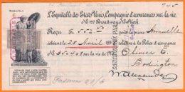 """Lot De 3 Reçu """" L'EQUITABLE Des ETATS UNIS """" Compagnie D'Assurances Sur La Vie  1898-1899-1917 Avec Timbres Fiscaux - Banque & Assurance"""