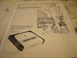PUBLICITE CIGARETTE WEEK END TRADITIONAL ENGLAND 1961 - Raucherutensilien (ausser Tabak)