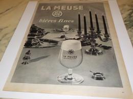 ANCIENNE  PUBLICITE  BIERES FINES LA MEUSE 1961 - Alcohols