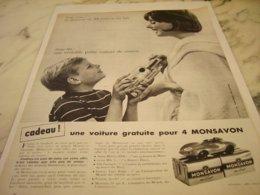 ANCIENNE PUBLICITE CADEAU MONSAVON  1961 - Perfume & Beauty