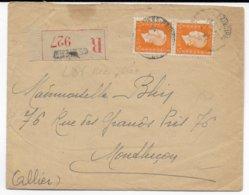 1946 - DULAC PAIRE De 5F - ENVELOPPE RECOMMANDEE De BEZIERS (HERAULT) => MONTLUCON - Postmark Collection (Covers)