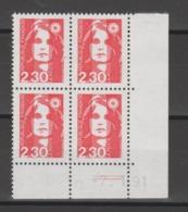 FRANCE / 1989 / Y&T N° 2614 ** : Briat 2.30 F Rouge De Feuille (2 Bandes PHO) X 4 - Coin Daté 1991 11 07 (=) - 1980-1989