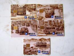 MAGNIFIQUE SET   5 CARTES A PUCE   HONG KONG   PARKING - Frankrijk