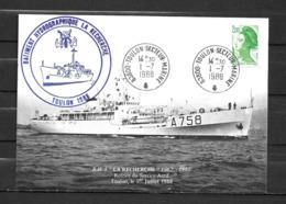Bâtiment Hydrographique LA RECHERCHE - Retrait Du Service Actif - TàD TOULON SECTEUR MARINE 01/07/88 Sur CP - Marcophilie (Lettres)