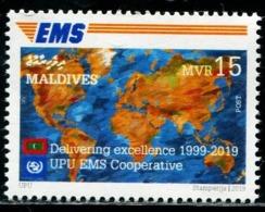 XC0857 Maldives 2019 Global Lianfa EMS20 Year Flag Map 1V MNH - Malediven (1965-...)