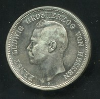 Hessen Großherzog Ernst Ludwig, 5 Mark Von 1899, Silber 900, Schön - [ 1] …-1871 : Estados Alemanes