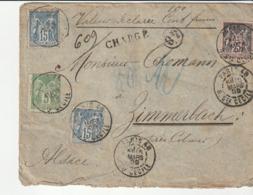 Lettre Chargée Avec Type Sage / Paris Pour Zone Occupée: Zimmerbach Près Colmar , 1899 - 1876-1898 Sage (Type II)