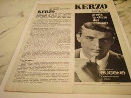 ANCIENNE PUBLICITE KERZO ARRETE  LA CHUTE DES CHEVEUX  1961 - Perfume & Beauty