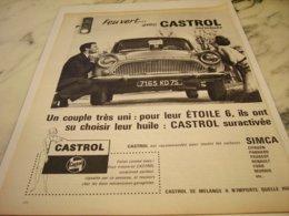 ANCIENNE PUBLICITE ARONDE SIMCA ET FEU VERT AVEC CASTROL 1961 - Other