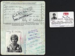 US PASSPORT + TWA CARD Woman RUBY LEZAMETA  SOLITSKY US Embassy In Portugal + Immigration Cancels / 1970s - Documents Historiques