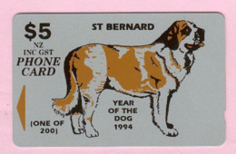 New Zealand - Private Overprint - 1994 Year Of The Dog - $5 St Bernard - Used - NZ-CO-28 - New Zealand
