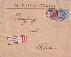 ALLEMAGNE 1890 LETTRE RECOMMANDEE DE MAINZ - Deutschland