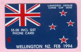 New Zealand - Private Overprint - 1994 Wellington - $5 NZ Flag - Mint - NZ-CO-23a - Neuseeland
