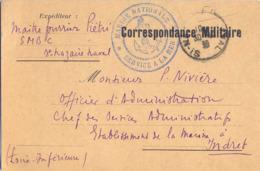 POSTE NAVALE TàD ST NAZAIRE NAVAL 30-10-39 - Envoi MAÎTRE FOURRIER PIETRI S.M.B.C. Pour Ets De La MARINE à INDRET - Marcofilia (sobres)