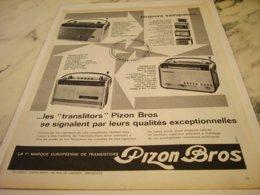 ANCIENNE  PUBLICITE TRANSISTORS  DE PIZON BROS 1961 - Radio & TSF