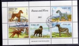 EIRE IRELAND IRLANDA 1983 DOGS CANI BLOCK SOUVENIR SHEET BLOCCO FOGLIETTO FIRST DAY SPECIAL CANCEL FDC - Blocchi & Foglietti