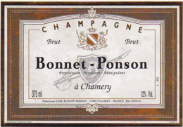 Etiquette Champagne BRUT / BONNET - PONSON 51 CHAMERY / 375 Ml - Champagne