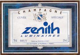 Etiquette Champagne BRUT Cuvée Spéciale ZENITH Luminaires / Jean FLEURY (51) PROUILLY / 750 Ml - Champagne