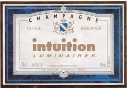 Etiquette Champagne BRUT Cuvée Réservée Intuition Luminaires / Jean FLEURY (51) PROUILLY / 750 Ml - Champagne