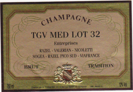 Etiquette Champagne BRUT TRADITION / TGV MED LOT 32 / G. FRANZINO (10) BAR-SUR-SEINE / 750 Ml - Champagne